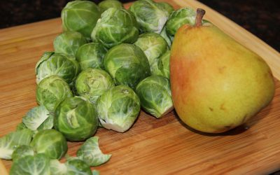Brussel Sprouts with Pear, Ginger, and Mustard