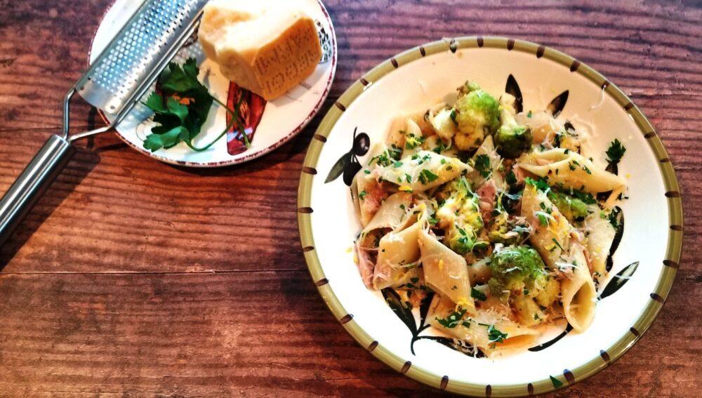 Rigatoni with Broccoflower, Tuna, and Lemon Ragout