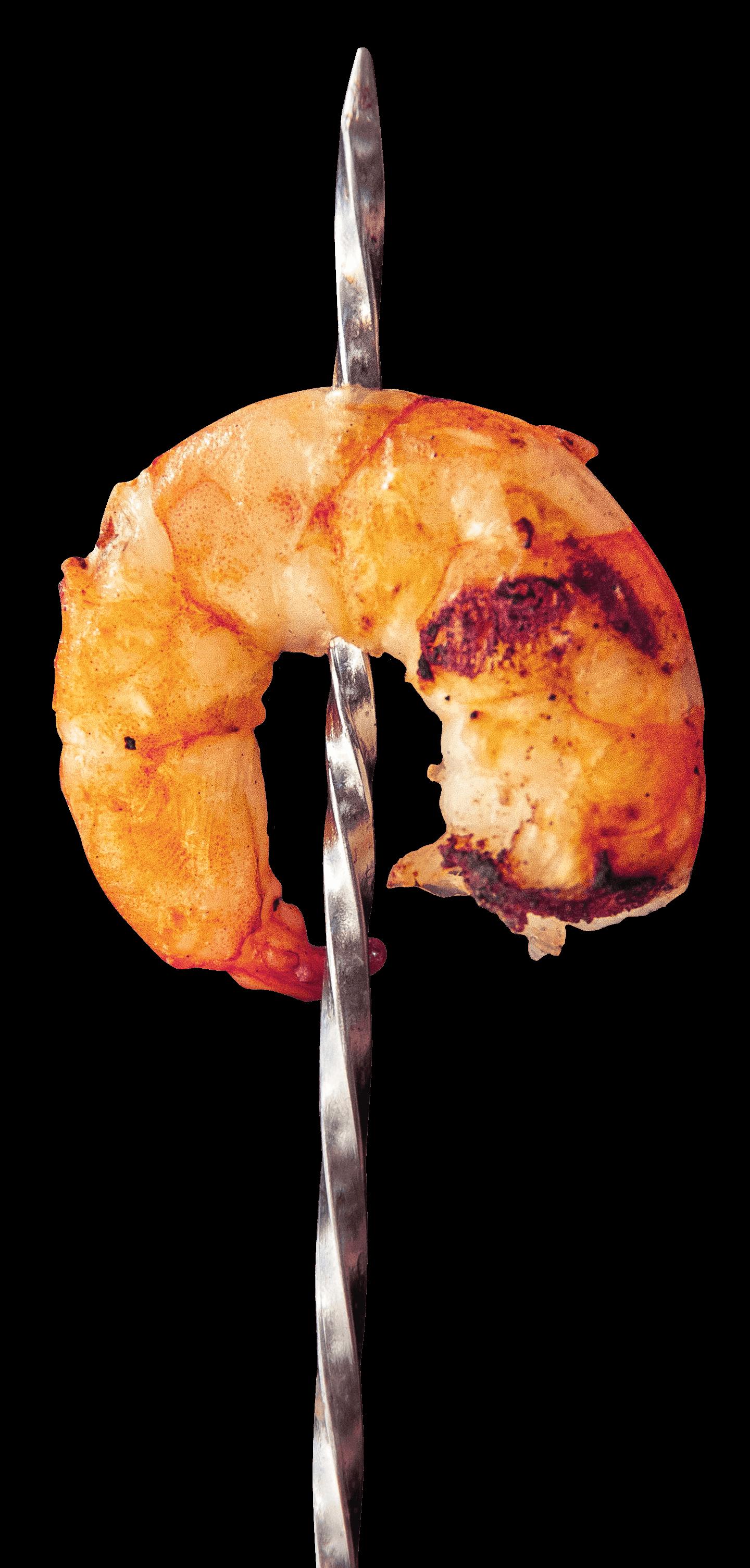 Single shrimp on skewer