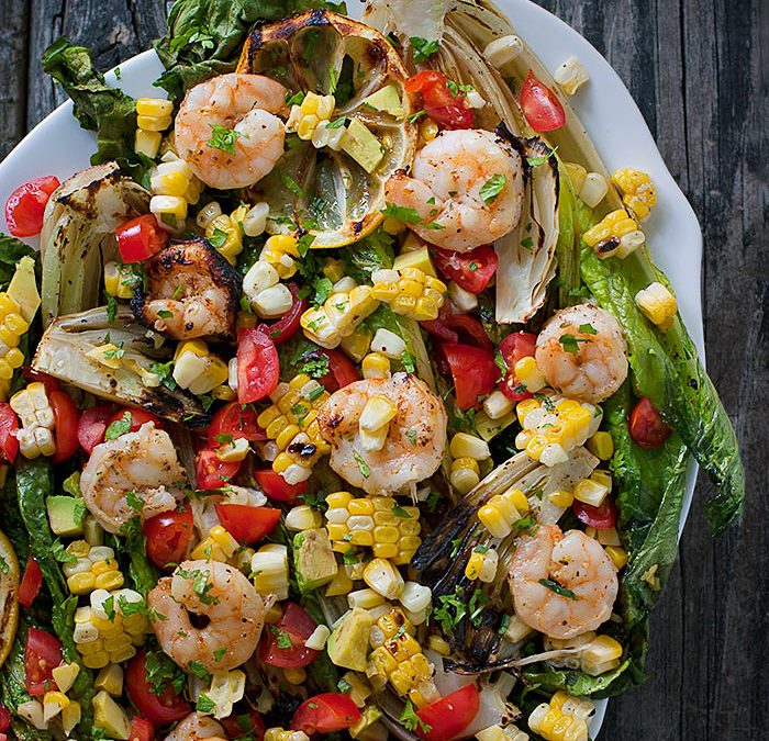Grilled Romaine with New Zealand Shrimp